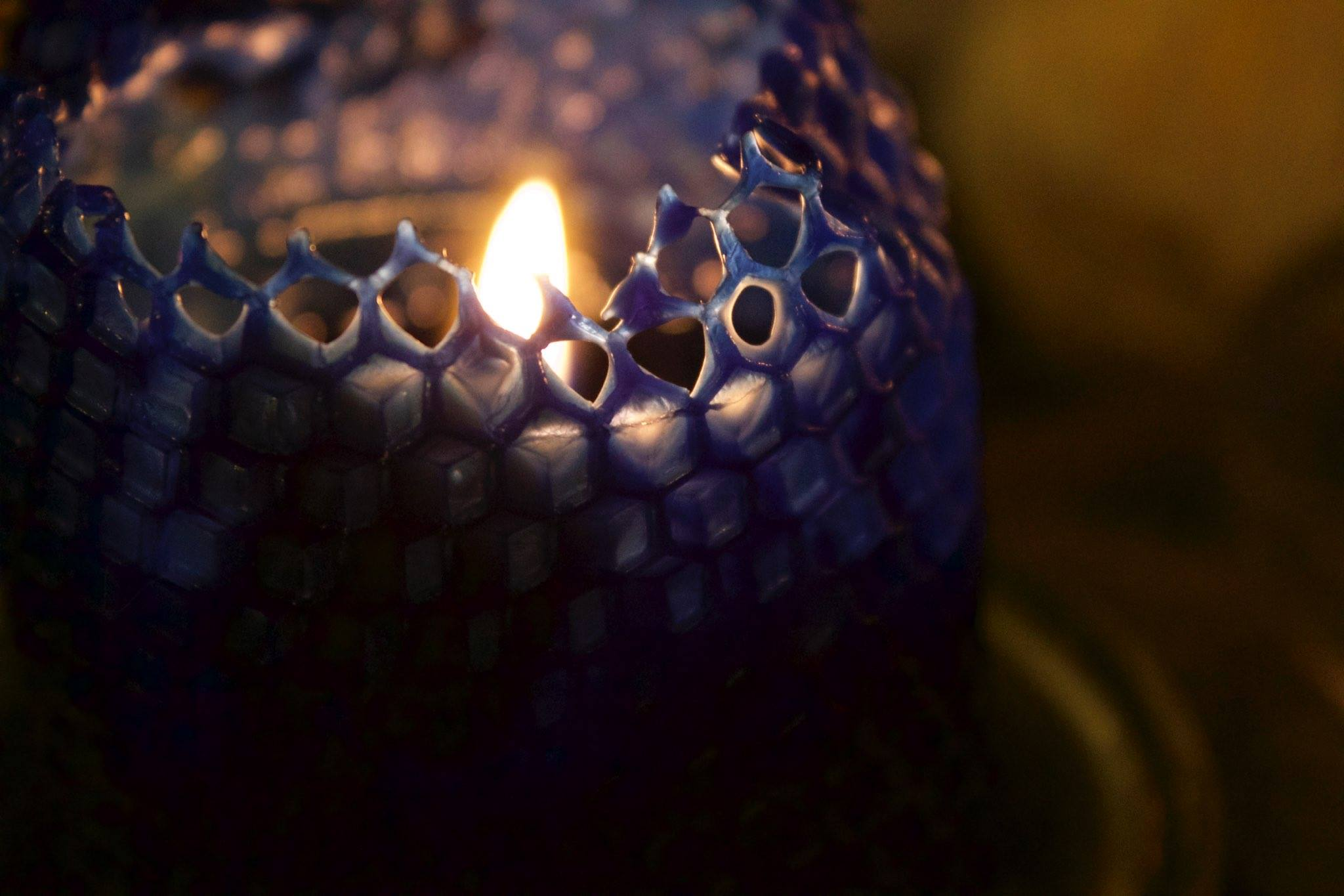 Blue beeswax candles