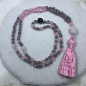 Labradorite Rose Quartz Mala Selenite Shungite