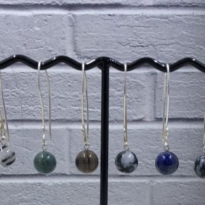 Longer Fine Silver Drop Earrings with 10mm Semi Precious Gemstone Beads