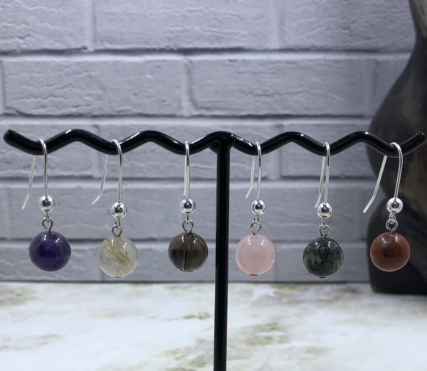 Shorter Sterling Silver Drop Earrings with 10mm Semi Precious Gemstone Beads