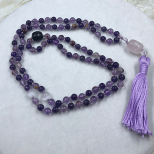 Super 7 Amethyst Mala Rose Quartz Guru