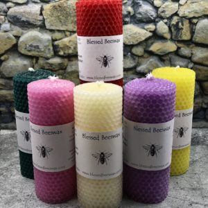 "Hand Rolled Beeswax 5"" Pillar Candles"