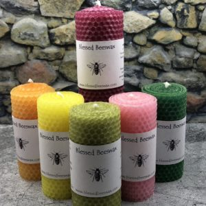 "Hand Rolled Beeswax 4"" Pillar Candles"