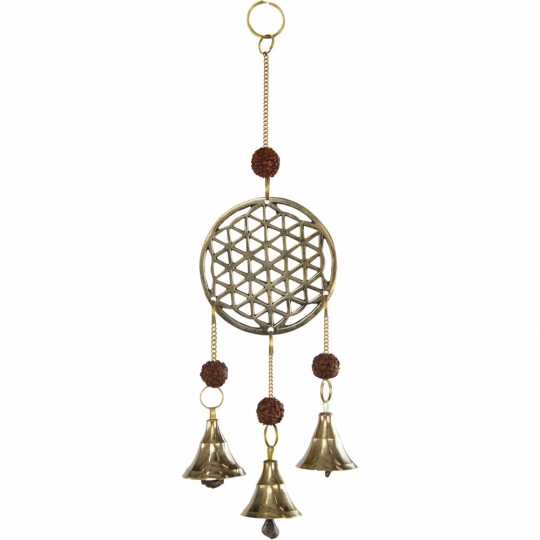 Flower of Life Hanging Brass Bells